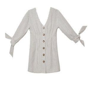 Dresses & Skirts - Jeu Illimite Roe Puff Sleeve Dress Brown Dot Linen